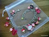 """Hello Kitty """"Pink Rabbit"""" bracciale argento lucite rosa cuore righe coniglio fiocco"""