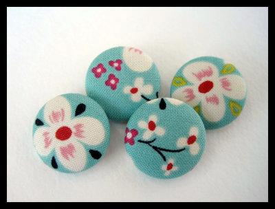 Orecchini bottone fiori e turchese