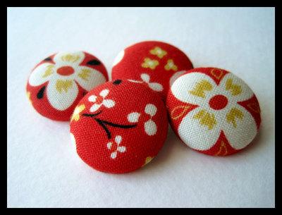 Orecchini bottone fiori e rosso