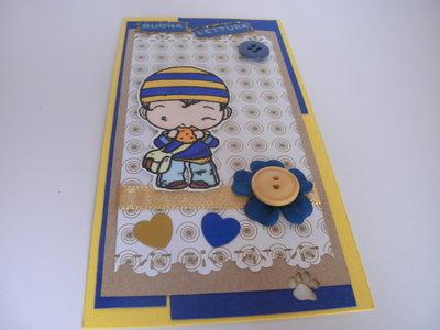 Segnalibro in cartoncino giallo e blu fatto a mano ragazzo con dolcetto