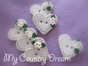 "Bottoni "" Shabby heart"" set 6pz."