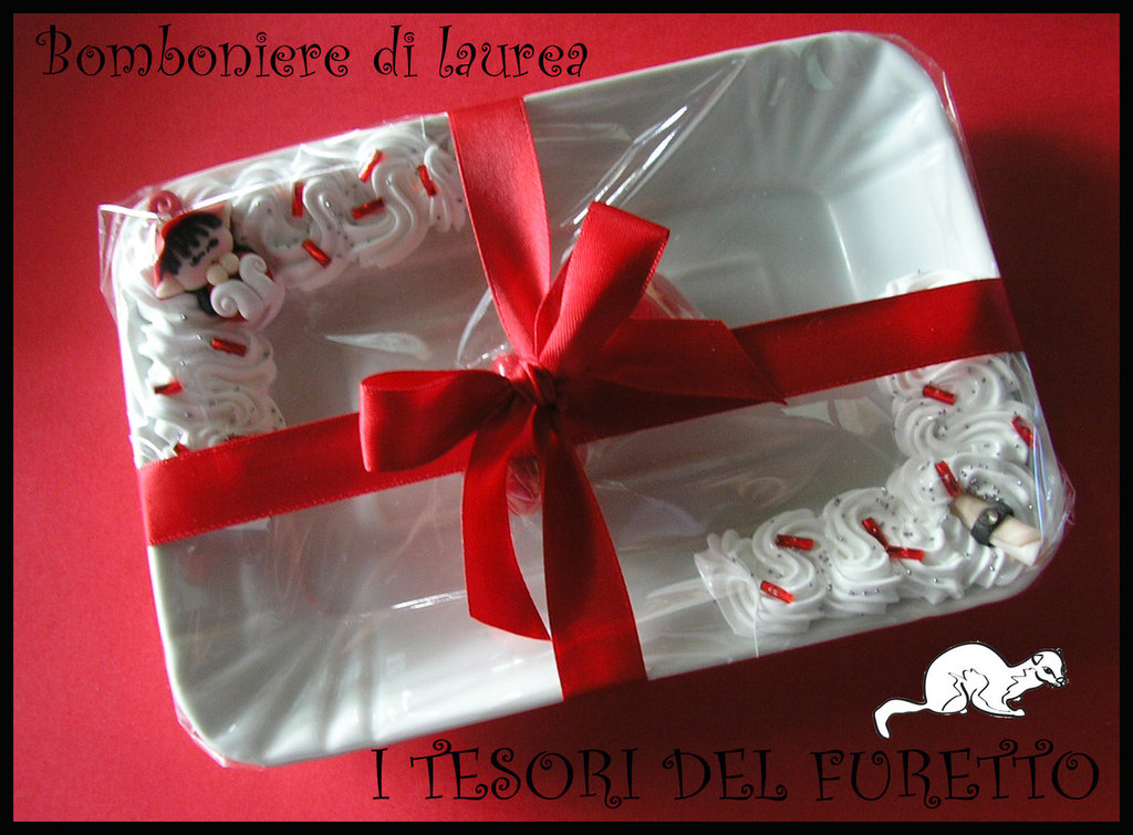 Preferenza Bomboniera Laurea Vassoio folletto tocco pergamena idea regalo - F  BE54