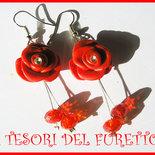 Parure Bracciale e Orecchini  Rosa Rossa Fimo Cernit Laurea