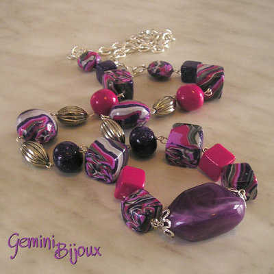 Collana fimo purple
