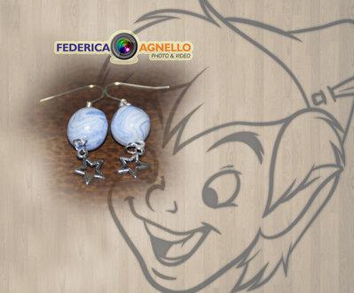 Orecchini swirl azzurri palline stelle fimo