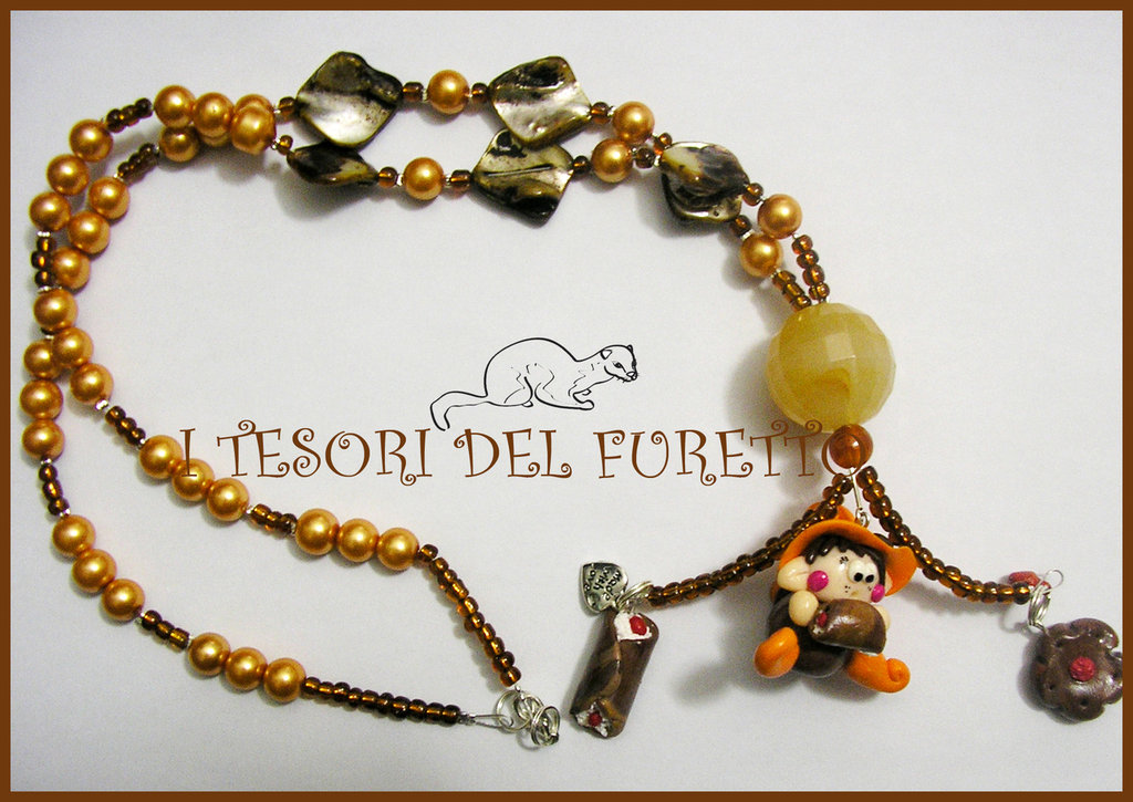 "Collana ""Fufulletto"" 2012 Folletto fimo cernit kawaii elph necklace collier rose dolcetti"