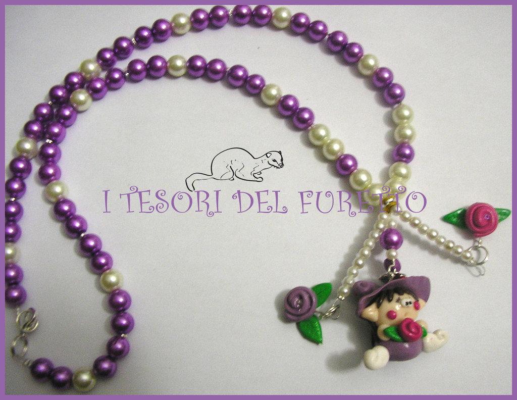 "Collana ""Fufulletto"" 2012 Folletto fimo cernit kawaii elph necklace collier rose dolcetti"