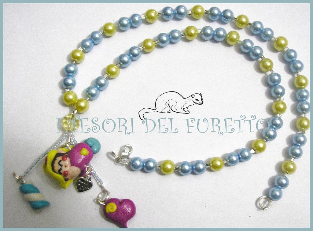 """Collana """"Fufulletto"""" 2012 Folletto fimo cernit kawaii elph necklace collier azzurro giallo dolcetti"""