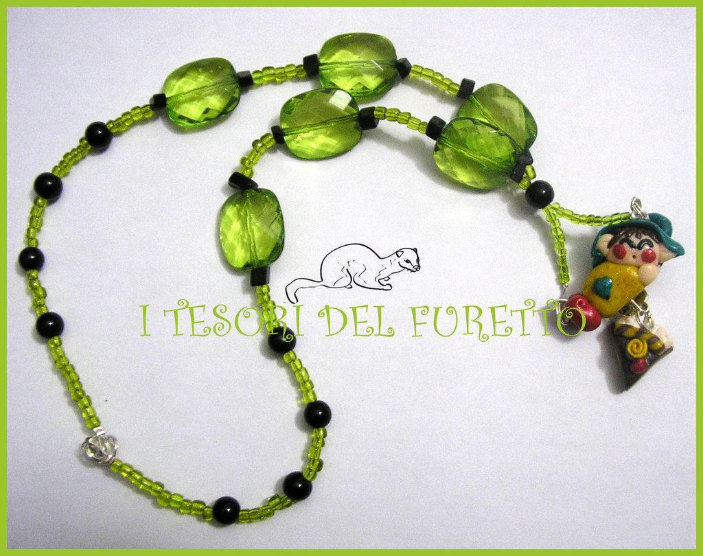 "Collana ""Fufulletto"" 2012 Folletto fimo cernit kawaii elph necklace collier lutin verde vert green"