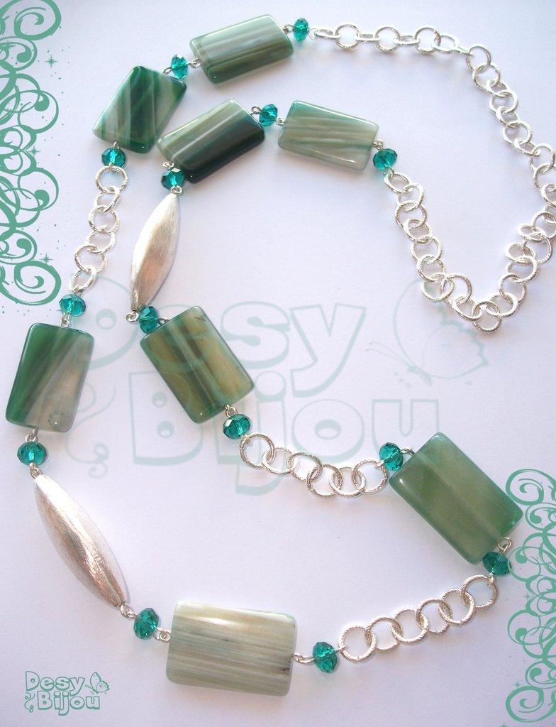 Collana lunga agata verde