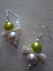 orecchini perle e nastro