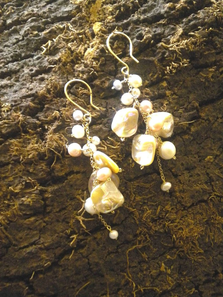 Cluster earrings...a cascade of pearls and mother of pearl chips
