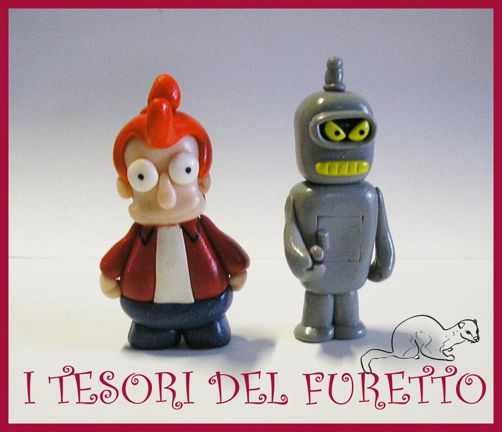 "Miniatura Futurama ""Fry Bender"" fimo kawaii"