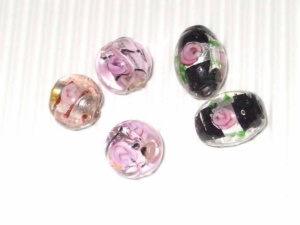 Lotto 5 perle lampwork roselline vend.
