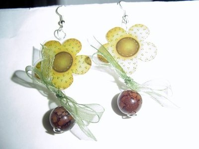 orecchini - country flowers earrings with original prints pressed country style