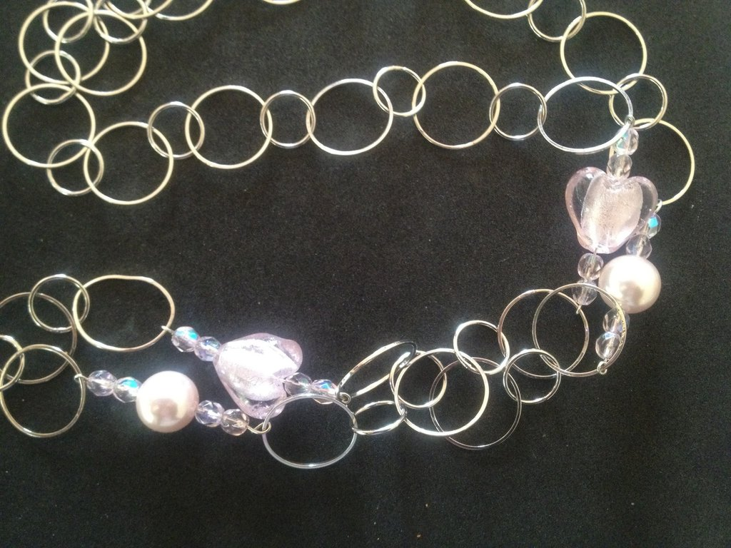 collana tonda perle e cuori