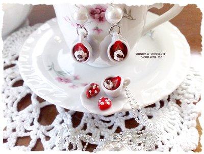 Collana e orecchini piattino e tazzina cioccolato fragola e panna
