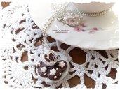 Collana piattino e tazzina latte e biscotti stile pan di stelle