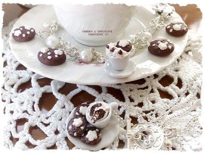 Collana e bracciale piattino bracciale latte e biscotti stile pan di stelle