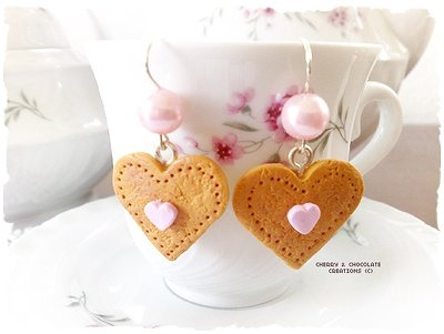 Orecchini biscotti a cuore