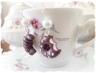 Orecchini biscotti al cioccolato ciambellina e cornetto