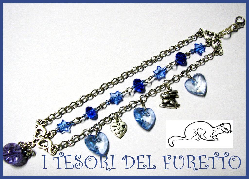 Bracciale Catena Charm 3 fili Blu Charm