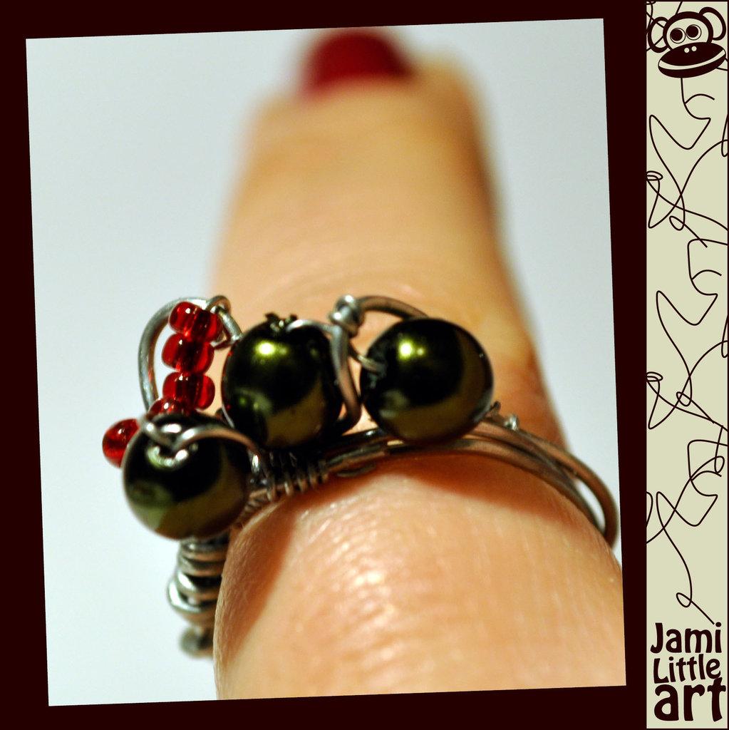 Art_0009_Anello Metallo Perle Verdi
