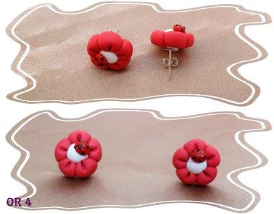 orecchini fiore coccinella