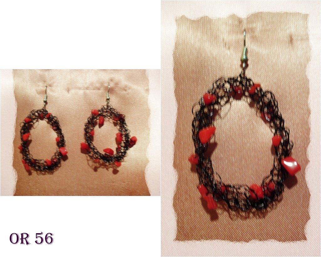 orecchini  pietre rosse