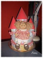 Torta di pannolini castello - Castle diaper cake