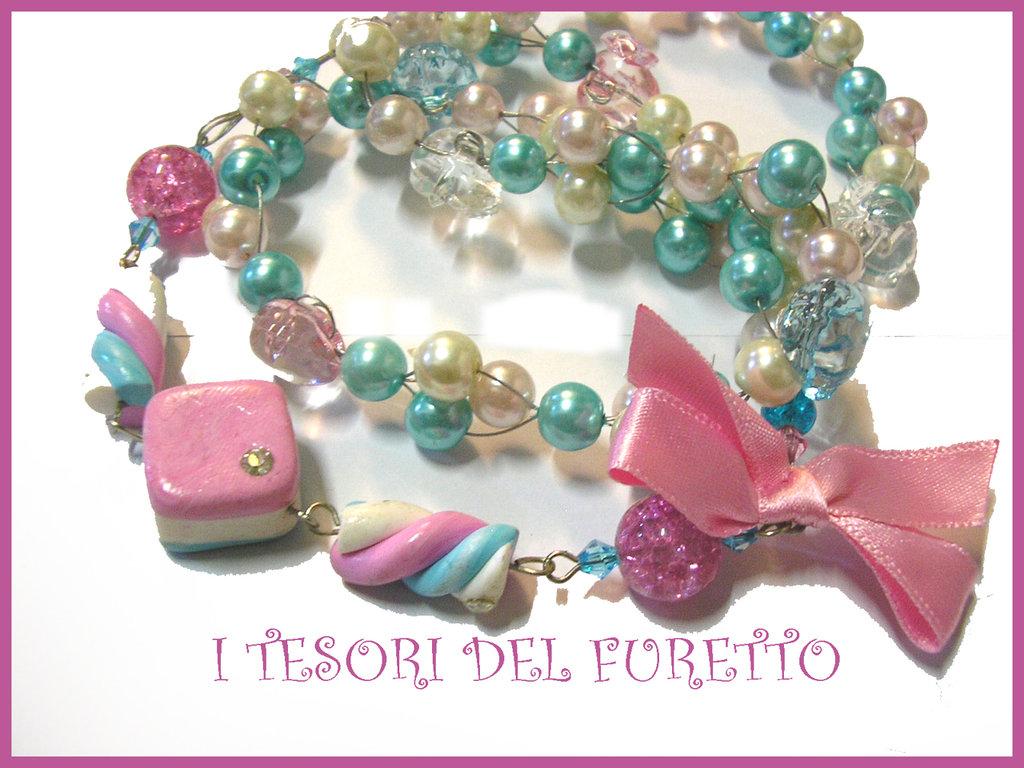 Collana SPUMONI MARSH MALLOW dolcetti fimo cernit perle
