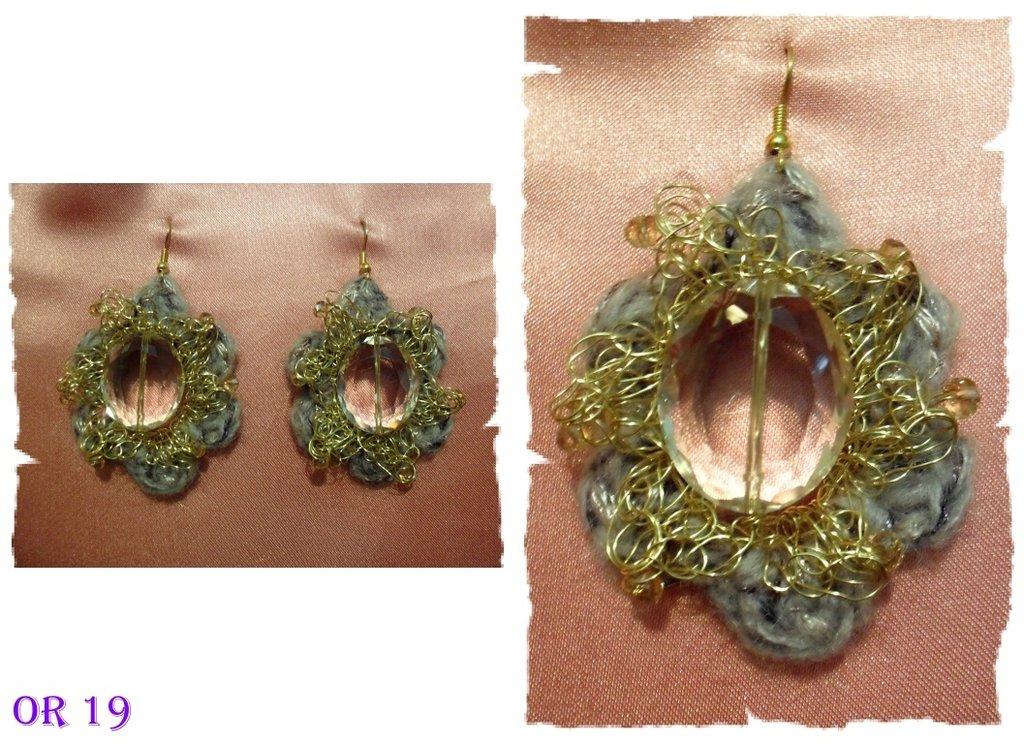 orecchini fiore lana