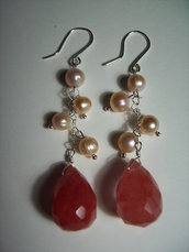 Orecchini in Argento 925, perle di fiume e gocce di quarzo cherry #3