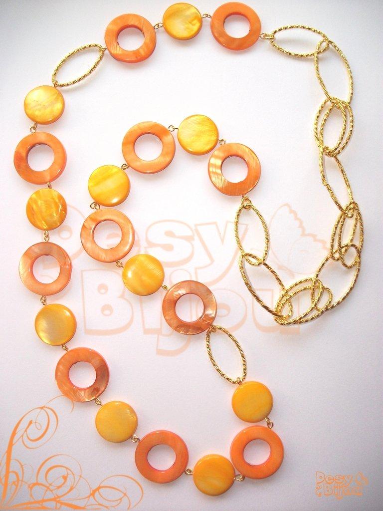 Collana lunga madareperla gialla e arancio