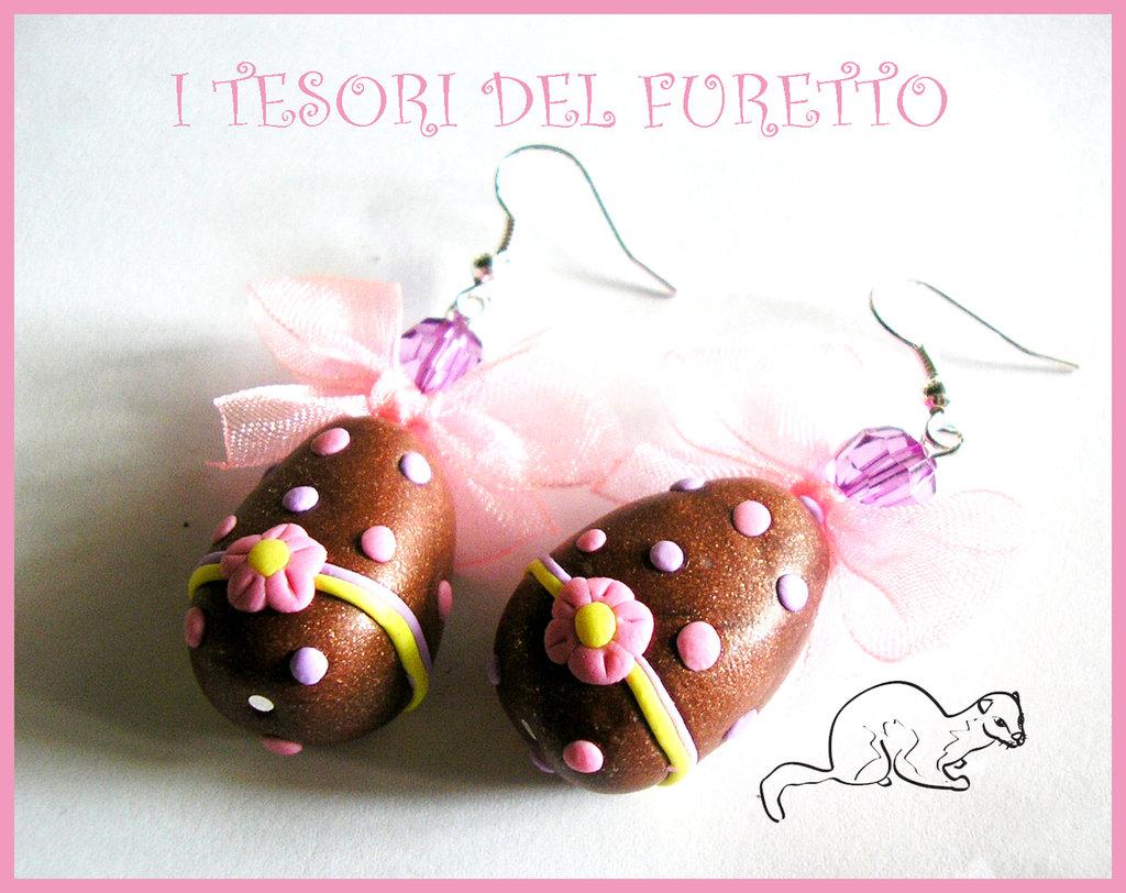 Orecchini Pasquali Uova di pasqua fimo cernit cioccolato kawaii
