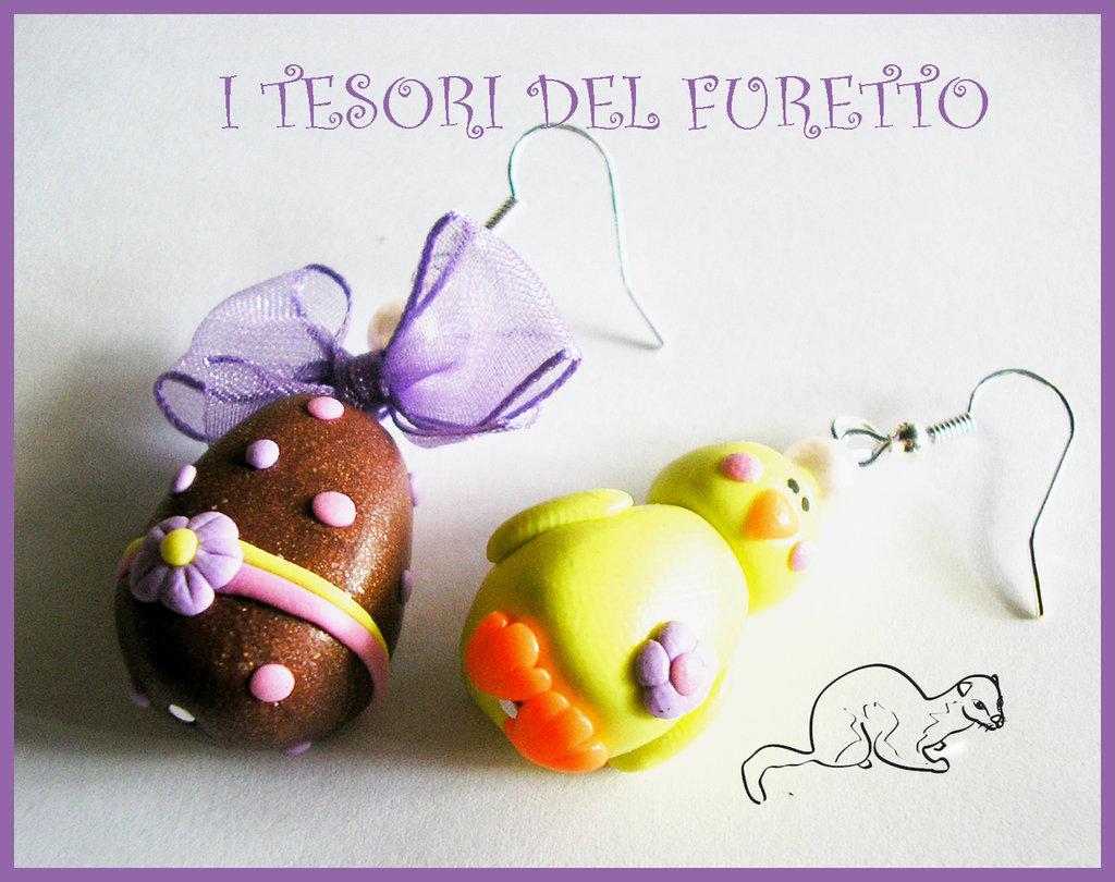 Orecchini Pasqua Pulcino Uovo cioccolata pasquale fimo cenrnit