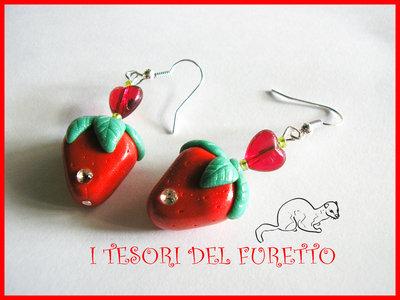 Orecchini Fragole FImo cernit kawaii primavera 2012