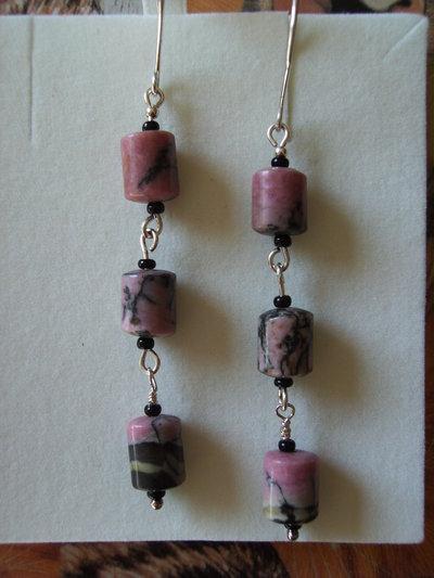 Orecchini in Argento 925 e Rhodonite cubica #9