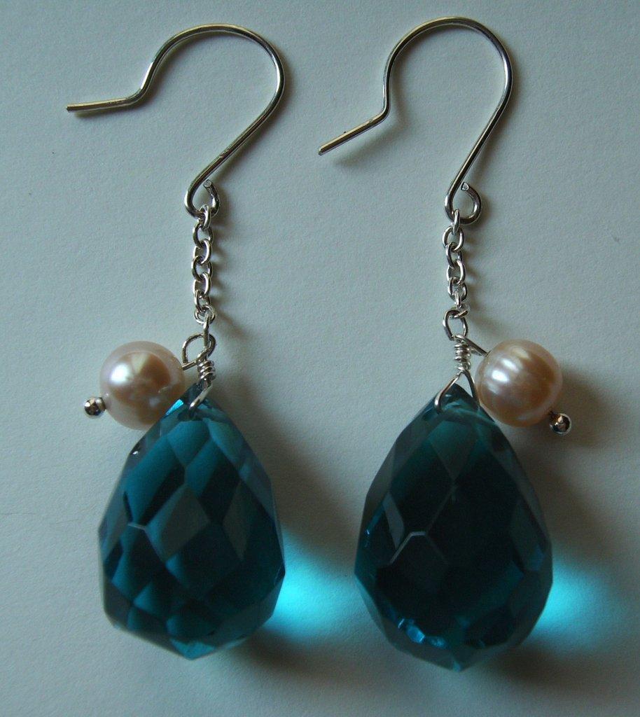 Orecchini in Argento 925, gocce smeraldo e perle di fiume #22