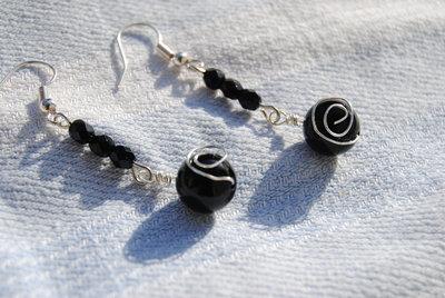 Orecchini con onice wire e mezzi cristalli neri