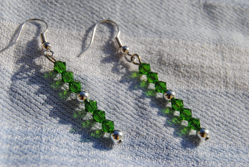 Orecchini con swarovsky verdi