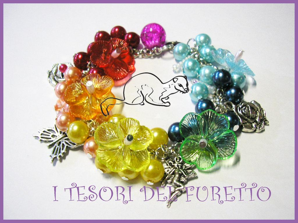 """Bracciale """"Esplosione di colori"""" lucite perle violette fiori"""