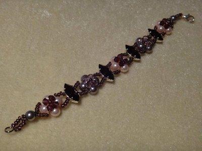 Bracciale bicono, perle e navette swarovski