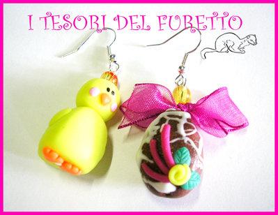 """Orecchini """"Ovetto Fiocco fucsia e Pulcino"""" Pasqua uovo cioccolato pulcino kawaii fimo cernit"""