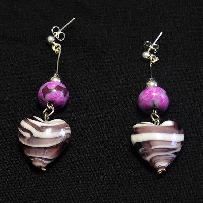 orecchini con cuore marmorizzato e perla in fimo