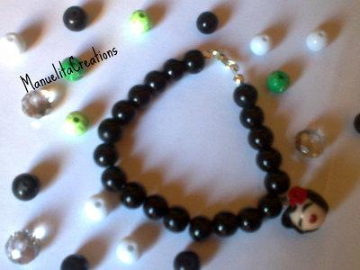 Bracciale elastico con Perle nere
