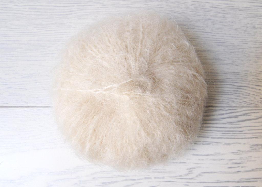 Lana Mohair per capelli delle bambole - bianco naturale