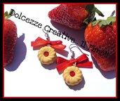 ★★SALDI★★Orecchini biscotto con marmellata alle fragole - frollino