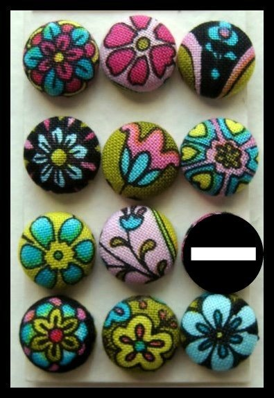 Orecchini bottone fiori multi colori