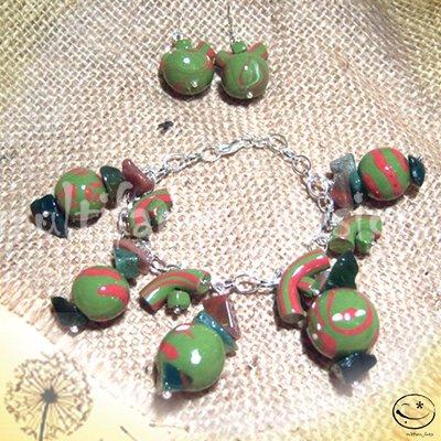 bracciale+orecchini fimo-verde scuro